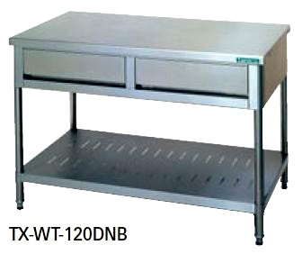 【送料無料】新品!タニコー 引出付作業台 (バックガードなし) W1200*D600*H800 TX-WT-120DNB