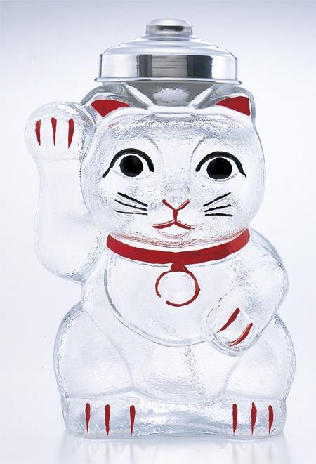 【送料無料】昭和初期のレトロガラスを再現!昭和レトロシリーズ 『招き猫 菓子ビン 』 廣田硝子