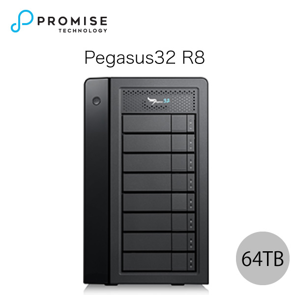 【クーポン有】[大型商品] Promise Pegasus32 R8 64TB (8TBx8) Thunderbolt 3 / USB 3.2 Gen2 対応 ストレージ 8ベイ ハードウェア RAID外付けハードディスク # F40P2R800000003 プロミス テクノロジー (パソコン周辺機器)