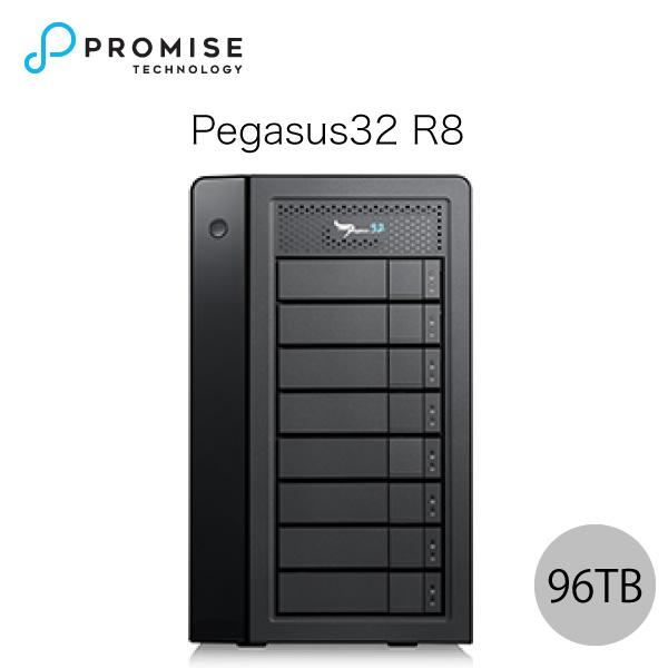 【クーポン有】[大型商品] Promise Pegasus32 R8 96TB (12TBx8) Thunderbolt 3 / USB 3.2 Gen2 対応 ストレージ 8ベイ ハードウェア RAID外付けハードディスク # F40P2R800000016 プロミス テクノロジー (パソコン周辺機器)