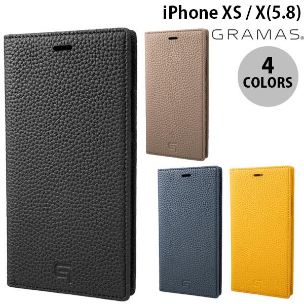 【マラソンクーポン有】 GRAMAS iPhone XS / X Shrunken-Calf Leather Book Case グラマス (iPhoneXS / iPhoneX スマホケース)
