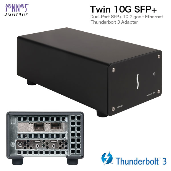 【クーポン有】 SONNET Twin 10G SFP+ Thunderbolt 3 to Dual 10 Gigagit Ethernet Adapter (SFP+s sold separately) # TWIN10GC-SFP-T3 ソネット テクノロジー (Apple製品関連アクセサリ)