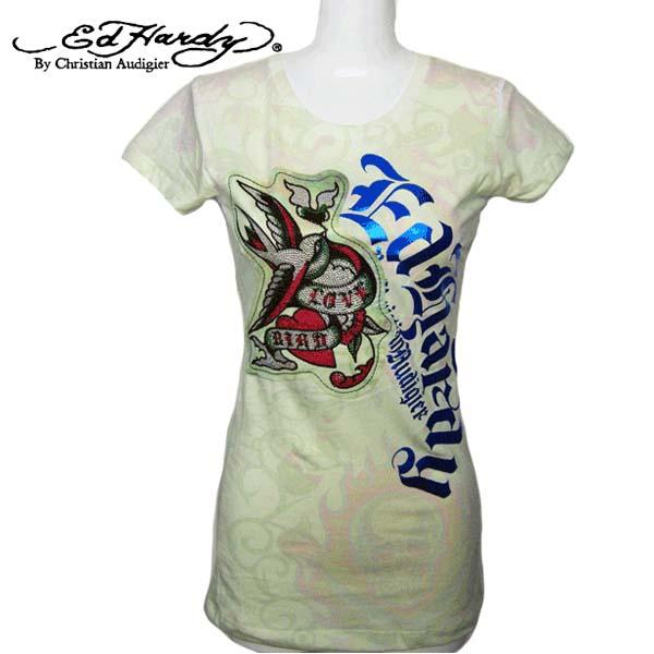 エドハーディー Ed Hardy レディース Tシャツ ラブ ハート 鳥 スカル ラインストーン ベージュ(薄いグリーン) EdHardy エド・ハーディー