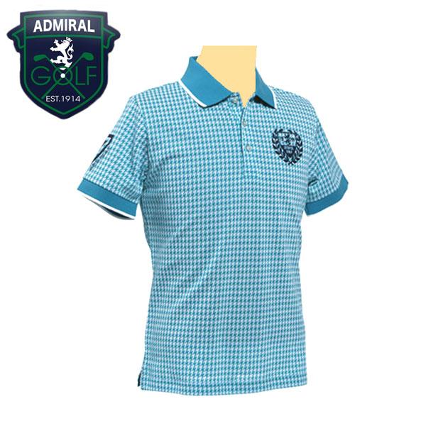 アドミラル(AdmiralGOLF) ポロシャツ メンズ 吸水速乾 UVカット 半袖 千鳥柄 ターコイズ M/L/LL