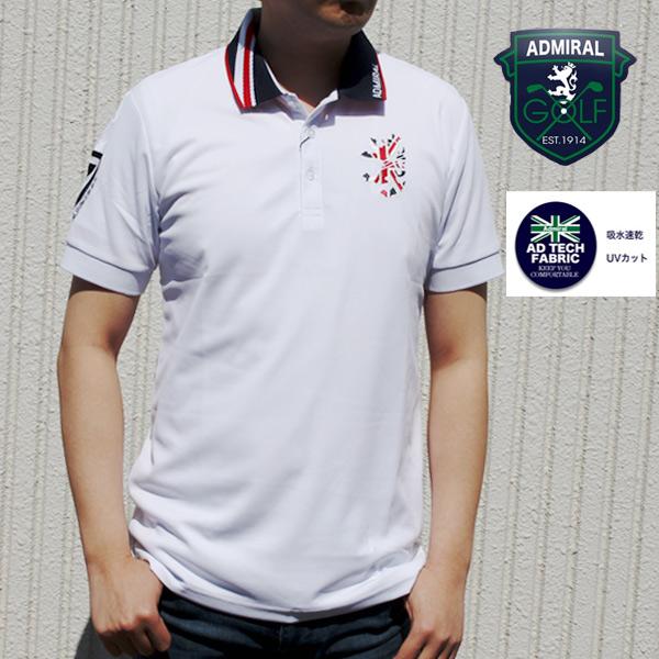 アドミラル(AdmiralGOLF) ポロシャツ メンズ ユニオンジャック 吸水速乾 UVカット 抗菌防臭 半袖 ホワイト M/L/LL
