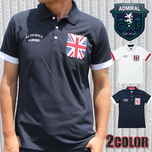 アドミラルゴルフ AdmiralGOLF メンズ ネイビー ホワイト M L LL ポロシャツ 半袖 ADMA737 アドミラル Admiral