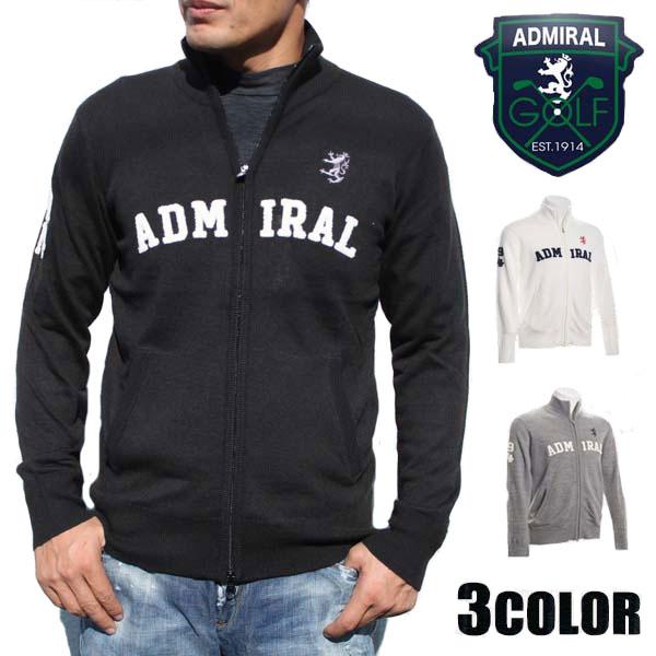 アドミラルゴルフ(Admiral GOLF) セーター メンズ ジップアップ さがらロゴ FZニット ブラック/グレー/ホワイト M/L/LL