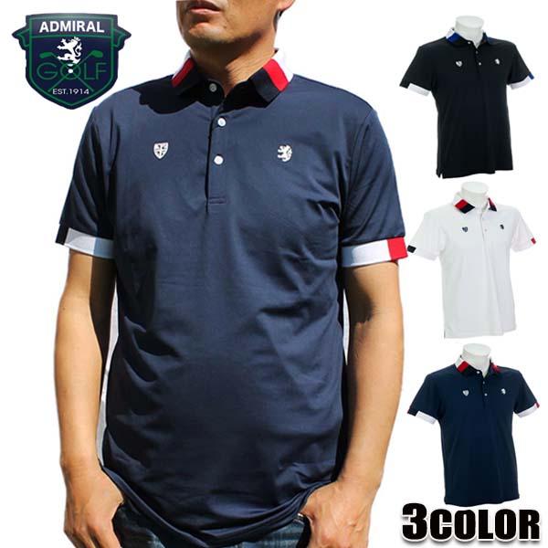 アドミラルゴルフ AdmiralGOLF ポロシャツ メンズ 半袖 トリコロール襟 半袖ポロシャツ ADMA903 ホワイト ブラック ネイビー アドミラル Admiral