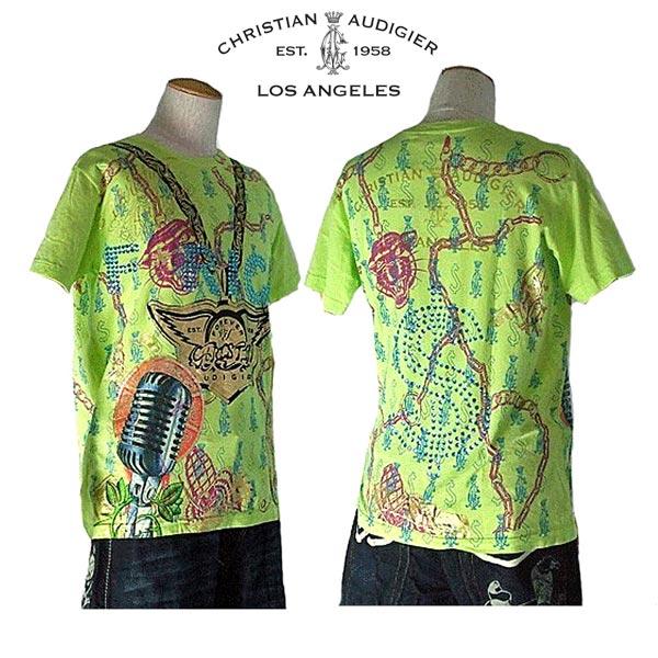 クリスチャンオードジェー Tシャツ メンズ christian audigier  rich y yellow green