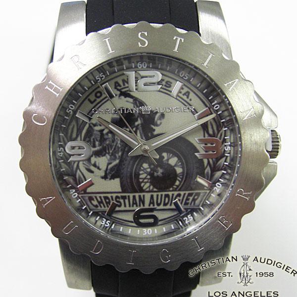 送料無料 Christian Audigier 時計 クリスチャン オードジェー メンズ オートバイ 本物 開店祝い ブラック 腕時計 SWI-617
