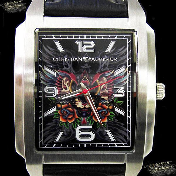 送料無料 Christian Audigier 時計 セール クリスチャン オードジェー 腕時計 ブラック Seasonal Wrap入荷 ローズ スカル SWI-629 メンズ