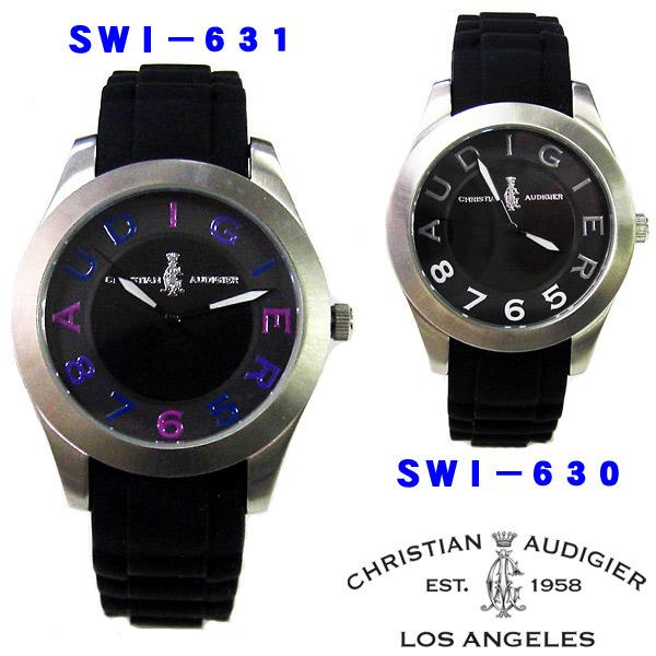 現品 送料無料 Christian Audigier 時計 クリスチャン オードジェー 腕時計 SWI-630 舗 SWI-631 ブラック ユニセックス