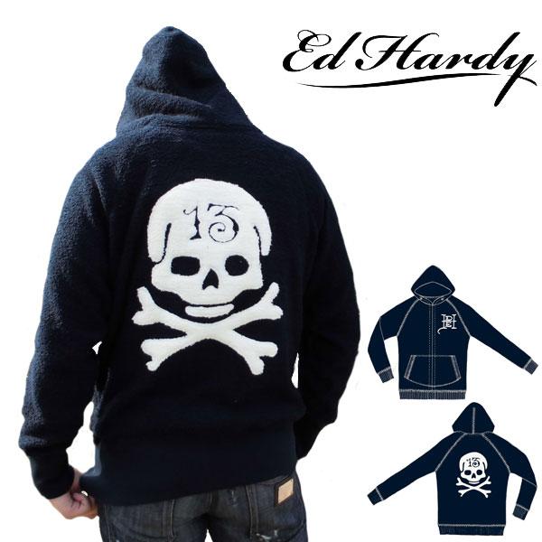 エドハーディー パーカー もこもこ メンズ ED HARDY スカル ネイビー M08PTCH552 エド・ハーディー エドハーディ EDHARDY タトゥー