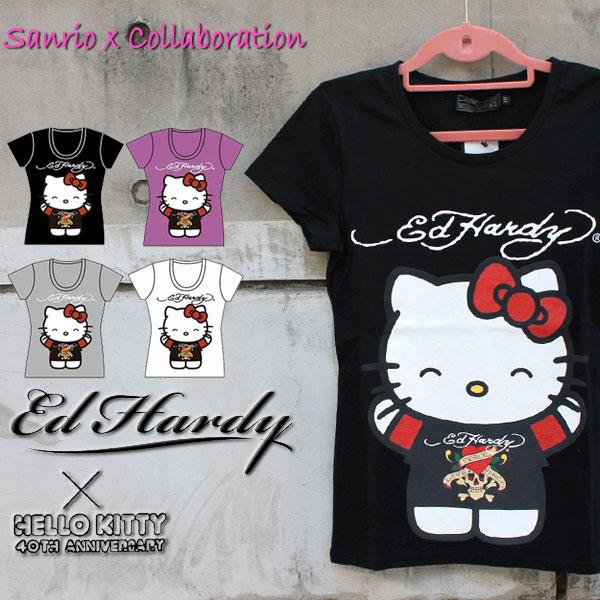 コラボTシャツ エドハーディー×サンリオ ハローキティー Ed Hardy×Sanrio Hello Kitty Ed Hardy レディース Tシャツ ラブキル スカル W02SKD エド・ハーディー edhardy タトゥー