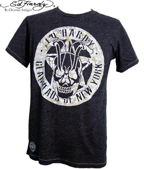 エドハーディー Tシャツ メンズ ED HARDY Tシャツ SKULL RIDER スカル ヘザーブラック ダメージ加工 A0CBDMSK エド・ハーディー EDHARDY 丸首 Uネック