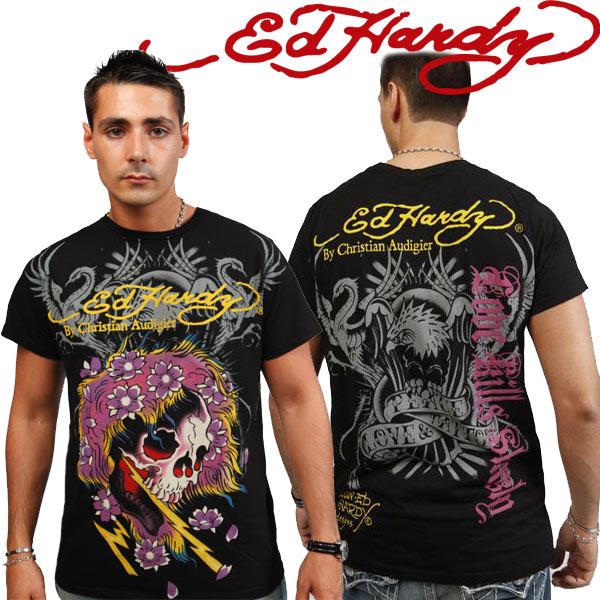 エドハーディー メンズ エドハーディ Tシャツ Ed Hardy ゴースト イーグル ブラック A9CBJGZY エド・ハーディー edhardy t-shirts TSHIRT タトゥー
