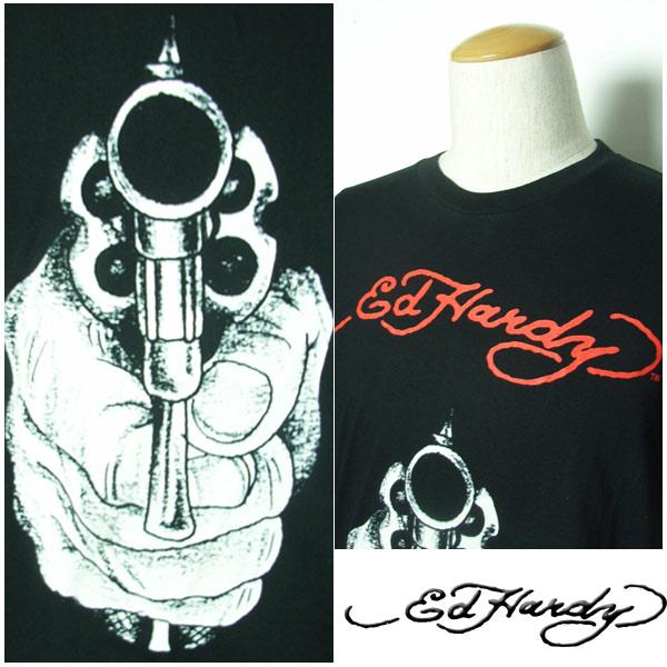 埃德哈迪T恤人Ed Hardy手枪Pistol枪黑色EH121206埃德哈迪埃德·哈迪edhardy纹身TSHIRT