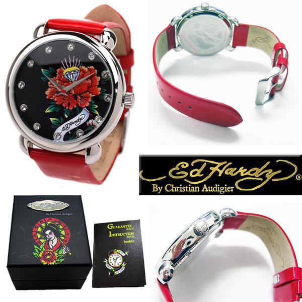 エドハーディー(Ed Hardy) 腕時計 レディース ローズ ダイヤ ストーン タトゥー