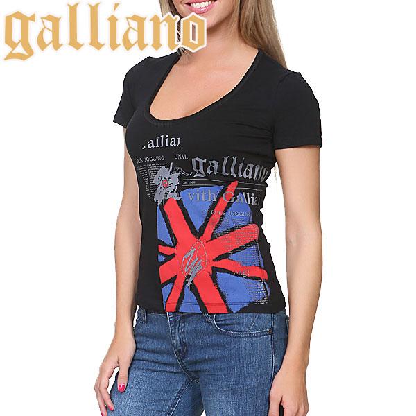 Galliano ガリアーノ レディース 半袖 Tシャツ ブラック YR7762 JohnGalliano ジョンガリアーノ