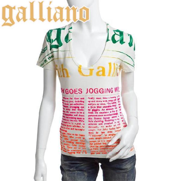 送料無料 Galliano 価格交渉OK送料無料 ガリアーノ レディース 半袖 Tシャツ アイボリー フロッキー加工 ジョンガリアーノ S 国内正規品 XS JohnGalliano YR6727