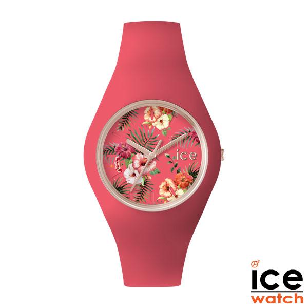 アイスウォッチ(ICEWACTH) 腕時計 レディース/メンズ シリコン ボタニカル柄 ハイビスカス サーモンピンク