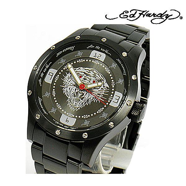 エドハーディー 時計 Ed Hardy 腕時計 ステンレススチール Tiger タイガー 虎 ブラック BR-BK