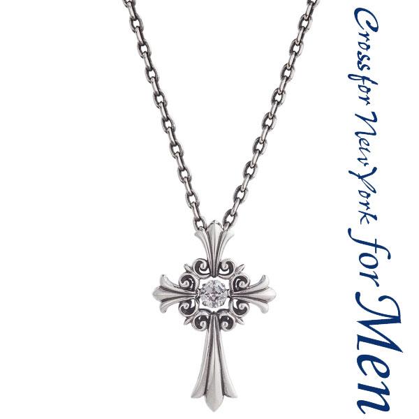 クロスフォー ニューヨーク(Crossfor New York) ネックレス メンズ Lily of Cross ダンシングストーン キュービックジルコニア シルバー925