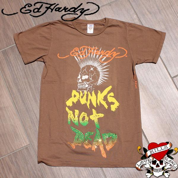 ed hardy エドハーディー tシャツ メンズ PUNK DEAD スカル ラインストーン ブラウン エド・ハーディー edhardy タトゥー