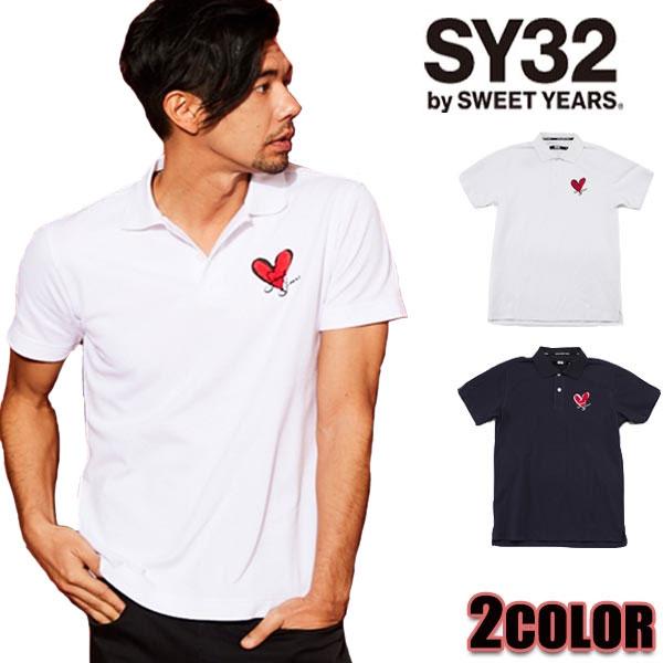 SY32 by SWEET YEARS ポロシャツ メンズ エスワイサーティトゥバイスィートイヤーズ 7405 ハート ホワイト ネイビー ポロシャツ トップス tops
