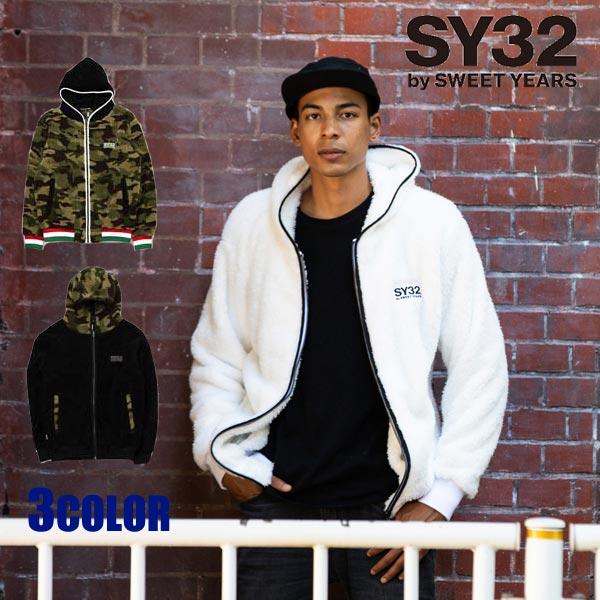 SY32 by SWEET YEARS パーカー ボアフリース メンズ エスワイサーティトゥバイスィートイヤーズ ボアフリースジップフーディー ブラック カモ ホワイト 8104 トップス SWEET YEARS エスワイ32 TOPS