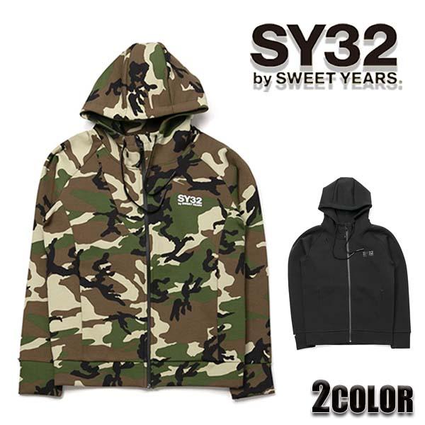 SY32 by SWEET YEARS パーカー メンズ ダブルニット ジップ フーディー トップス アウター ブラック/カモフラージュ 全2色 M/L/XL