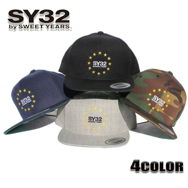 SY32 by SWEET YEARS キャップ レディース/メンズ スナップバック スター ブラック/ネイビー/グレー/カモフラージュ