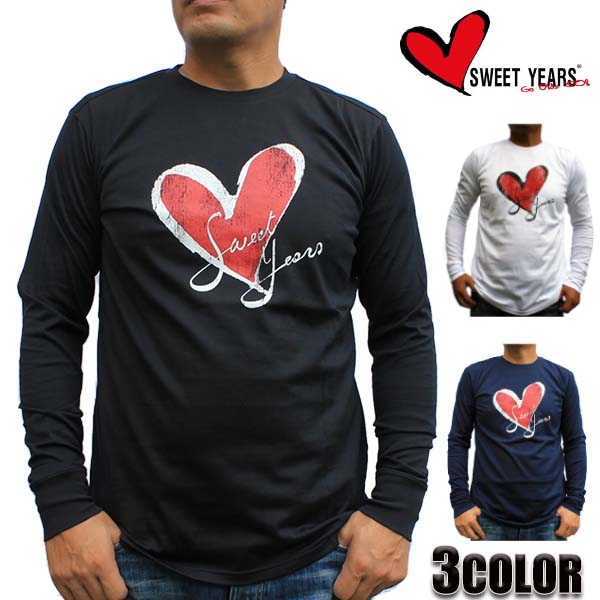 SWEET YEARS Tシャツ メンズ ロッキープリントハートロゴロンT 長袖 9600SY ブラック/ホワイト/ネイビー M/L/XL