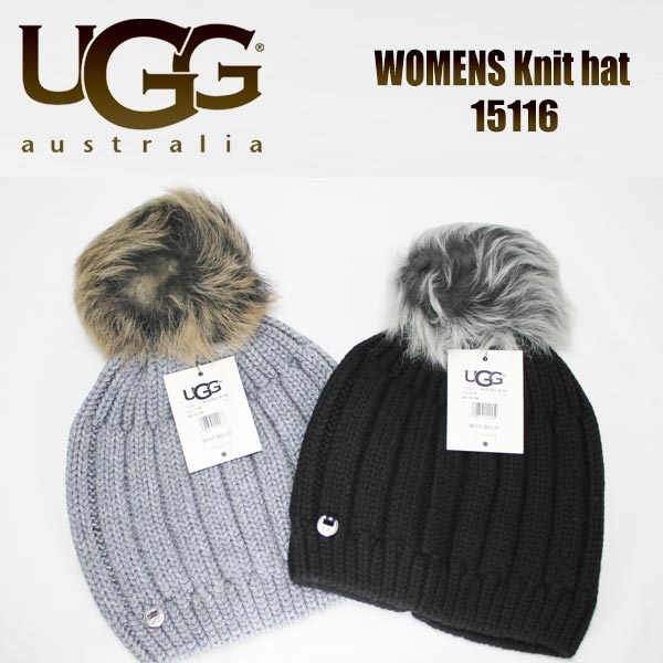 b6b1bf558688d kitss  UGG AUSTRALIA knit hat ニットキャップアグオーストラリアソリッドリブドビーニーウィズトスカーナポムブラックグレー  15116 SOLID RIBBED BEANIE WITH ...