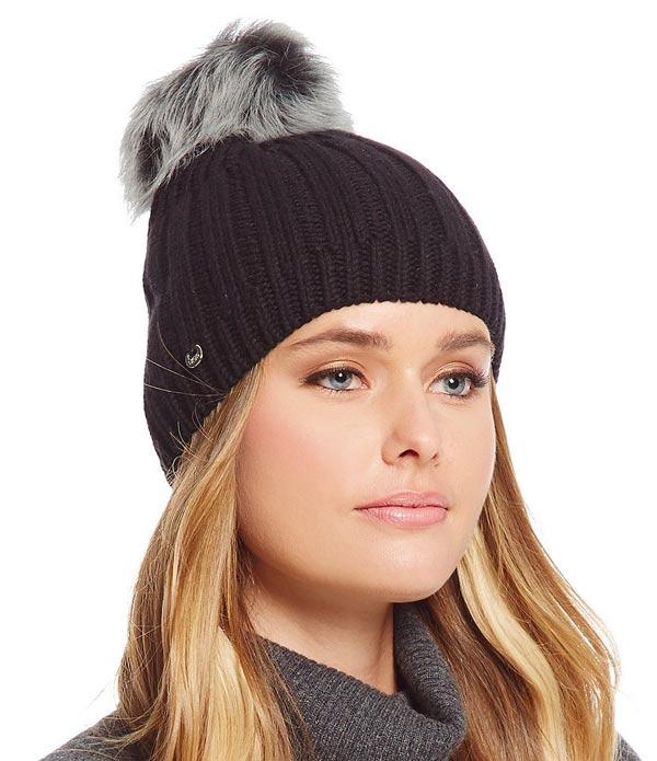 51347642f2430 ... UGG AUSTRALIA knit hat ニットキャップアグオーストラリアソリッドリブドビーニーウィズトスカーナポムブラック