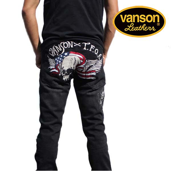 バンソン メンズ デニム VANSON スキニーパンツ ジーンズ ジーパン スカル ブラック CRV-741 VANSON(バンソン) 刺繍 ワッペン ヴァンソン アメカジ