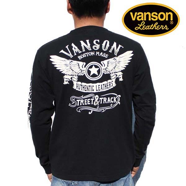 バンソン ロンT VANSON メンズ 長袖Tシャツ ロングTシャツ フライング スター プリント ブラック NVLT-723 VANSON(バンソン) ワッペン ヴァンソン