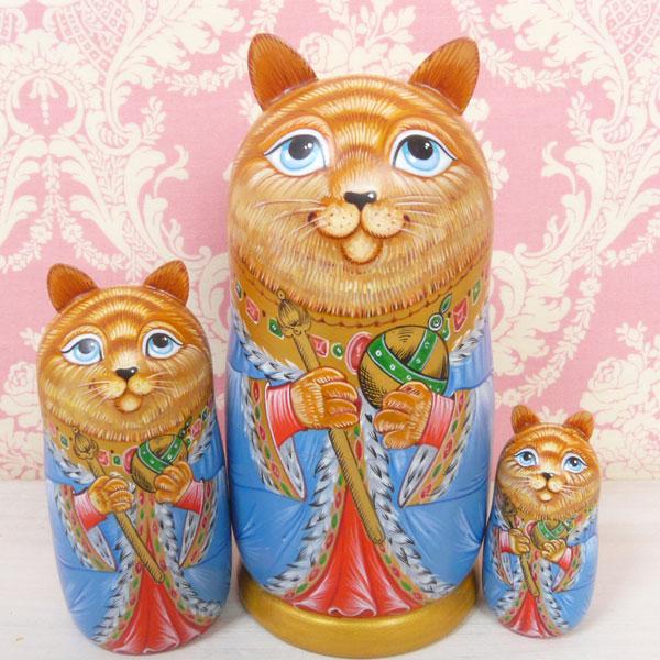 ロシア マトリョーシカ 猫の皇帝 ブルー