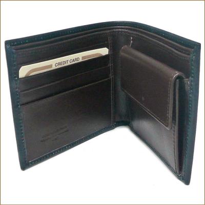 Peroni peroni钱包80011深蓝色/暗褐色牛皮制造对开钱包