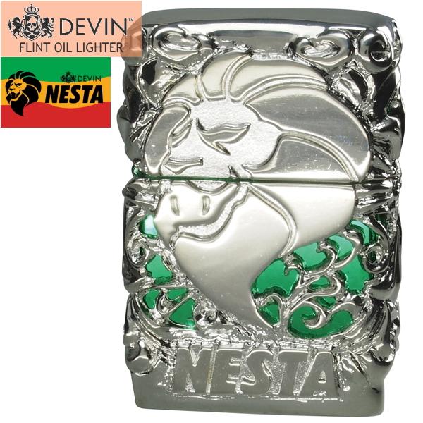 NESTA ネスタブランド ライター DXN-MJA メタルジャケットA 銀メッキメタル/グリーン オイルライター