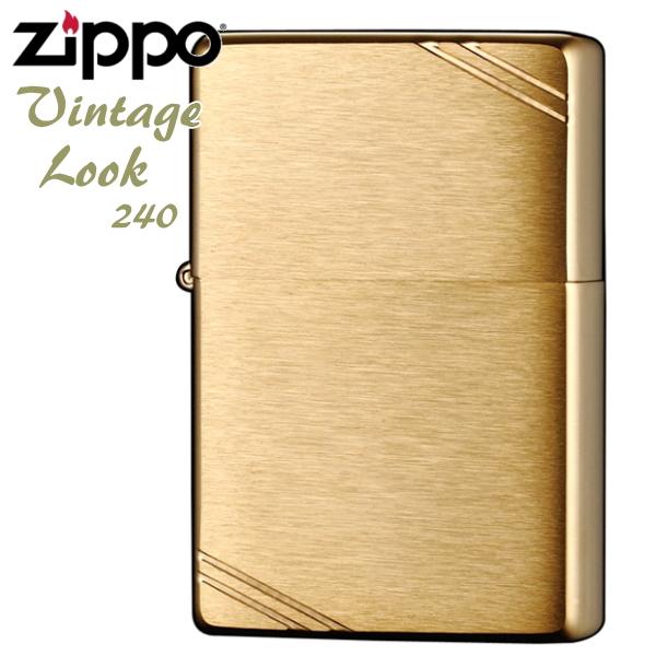 ZIPPO ジッポー 240 フラットトップ ブラッシュブラス 無地 真鍮無垢 ソリッドブラス 金色 定番 ZIPPOライター Vintage Lookメンズ ギフト