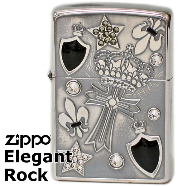 ZIPPO ライター ジッポー EGR-C エレガントロック クロス&クラウン柄 シルバーイブシ ジッポーライター ライテック【再入荷】