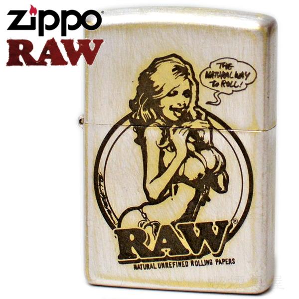 ZIPPO ジッポー RAW ロウ RAWガール シルバー ユーズド仕上げ 銀色 渋い かっこいい ZIPPOライター オイルライター 手巻きタバコ ブランド
