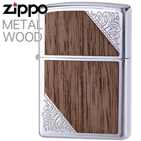 ZIPPO ジッポー 2SW-WOOD メタルウッド シルバー 渋いジッポーライター zippo メンズ ギフト