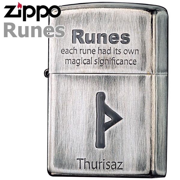 ZIPPO ジッポー ルーン文字04 THURISAZ/巨人 2UDS-RUNES4 銀イブシ ユーズド仕上げ 渋いジッポーライター zippo メンズ ギフト