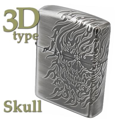 ZIPPO ジッポー 20SK3-SV 3Dタイプ 3面連続加工 スカル 骸骨 ZIPPOライターメンズ ギフト