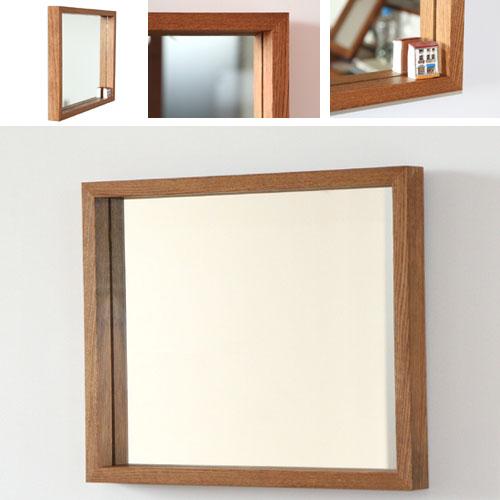 洗面台 鏡 壁掛け おしゃれ 北欧 アンティーク 洗面所 鏡 木枠 ミラー 全身 オーク材 洗面 鏡 木 枠 ウォールミラー 鏡 壁掛け 角形 四角 木製 無垢材 [H450×W550×D50mm] 日本製