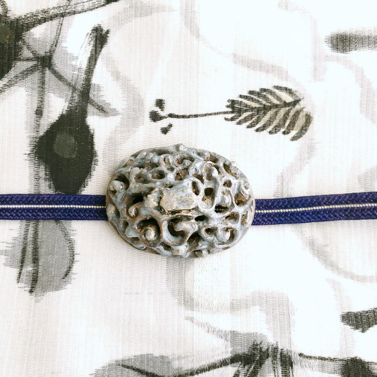 在銘有り 陶器製 龍 帯留 帯締めセット 帯締め 三分紐 直輸入品激安 アクセント ご注文で当日配送 帯留め お着物