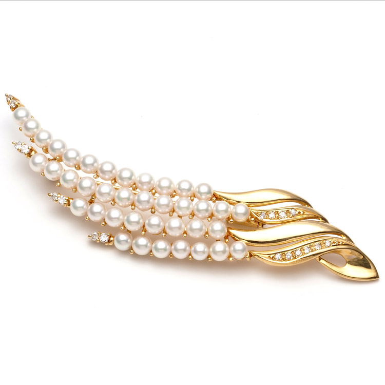 K18 アコヤ真珠 天然ダイヤ付き ブローチ 18金 ゴールド 大ぶり アンティーク