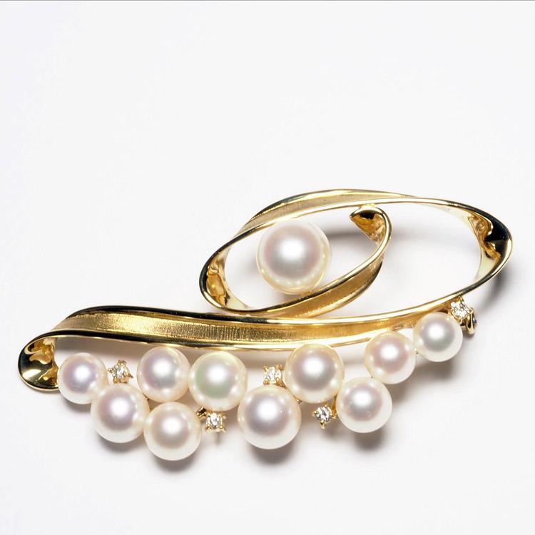 K18 アコヤ本真珠 天然ダイヤ付き ブローチ 18金 ゴールド 大ぶり アンティーク